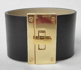 CC SKYE Black Leather Gold Lock Bracelet