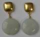Kenneth Jay Lane Brushed Gold Jade Button Earrings