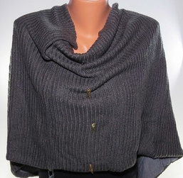 Donni Charm Charcoal Snug Scarf Gold Buttons