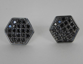 NYLA Star Six Point Black Diamond Crystal Earrings