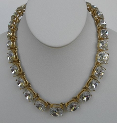 Kenneth Jay Lane Square Crystal  Headlight Necklace