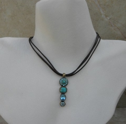 Van Galz Turquoise Crystal Linear Leather Necklace