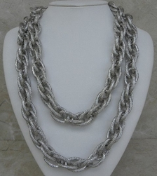 Kenneth Jay Lane Necklace Silver Double Row Textured
