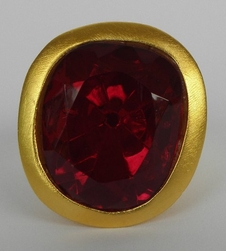 Kenneth Jay Lane Headlight Ring Deep Red