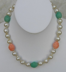 Kenneth Jay Lane Baroque Pearl Jade Coral Necklace