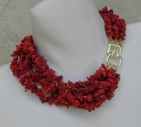 Kenneth Jay Lane 6 Row Red Coral Chip Necklace
