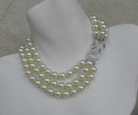 Kenneth Jay Lane 3 Row Pearl Crystal Necklace