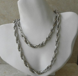 Devon Leigh Silver Long Rope Necklace