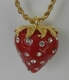 Kenneth Jay Lane Red Strawberry Crystal Necklace