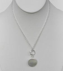 Argento Vivo Brushed Silver Pod Circle Necklace