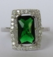 Alura  Silver Collection Green Rectangle CZ Ring