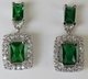 Alura  Silver Collection Green Rectangle CZ Earrings