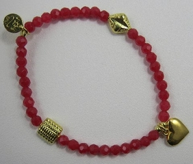 Good Charma Red Agate Gold Puffed Heart Bracelet