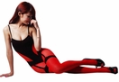 Blancho SE-110 Sexy Black & Red Sheer Lace Cami Body Stocking - Black/Red - Medium