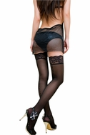 Blancho SE-2040002 Sexy Embossed Heart In Backseam Thigh High Stocking - Black - Medium