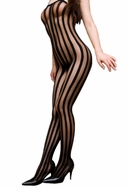 Blancho SE-104 Sexy Black Sheer Striped Lace Cami Body Stocking - Black - Medium