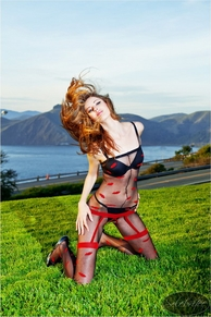 Blancho SE-145 Sexy Red Lingerie Padded Corset Set
