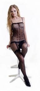 Blancho SE-114 Sexy Black Sheer Dots Lace Cami Body Stocking With Black Bow - Black - Medium