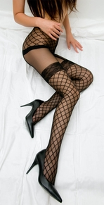 Blancho SE-203001 Sexy Black Sheer Lace Latticework Pattern Highs With Open Crotch Detail - Black - Medium
