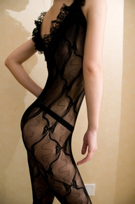 Blancho SE-138 Elegant Black Sheer French Lace Butterfly Embroidery Cami Body Stocking - Black - Medium