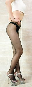 Blancho SE-2035 Sexy Black Sheer Mesh Highs With Open Crotch Detail - Black - Medium