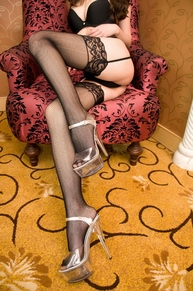 Blancho SE-2030002 Sexy Black Sheer Mesh Thigh Highs With Lace Garter Belt W/ Bow - Black - Medium
