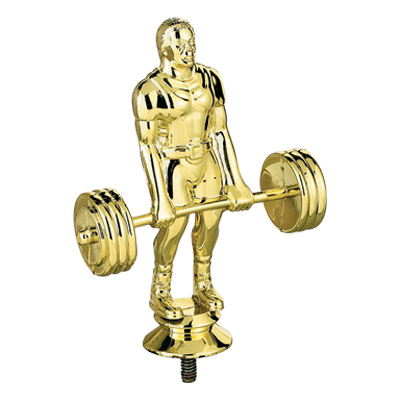5 1/2 Inch Gold Plastic Male Weightlifter Trophy Figure