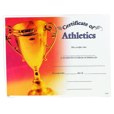 11 x 8 1 2 inch athletics certificate