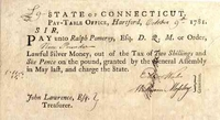 Connecticut Pay-Table Promissory Note signed by Eleazer Wales, Fenn Wadsworth, and Ralph Pomeroy 1781