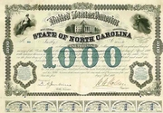 State of North Carolina Bond signed by W Holden 1869