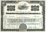 Kinner Airplane & Motor Corp Stock 1935