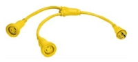 Hubbell HBL64CM56 Y Cable 2-30A Male - 1 30A Female