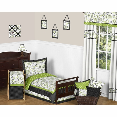 Spirodot Lime and Black Toddler Bedding Collection