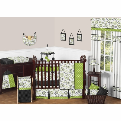 Spirodot Lime and Black Crib Bedding Collection
