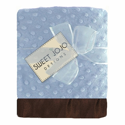 Sky Blue and Brown Baby Boy Minky Dot and Satin Blanket