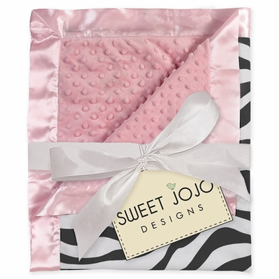 Pink & Zebra Print Minky Dot and Satin Baby Blanket