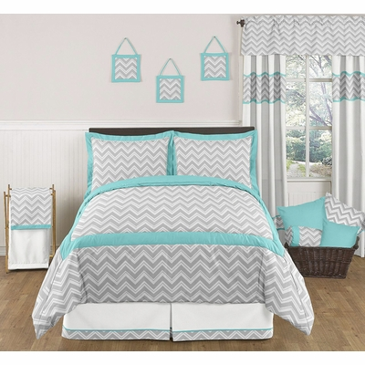 Zig Zag Turquoise and Gray Chevron Full/Queen Bedding Collection