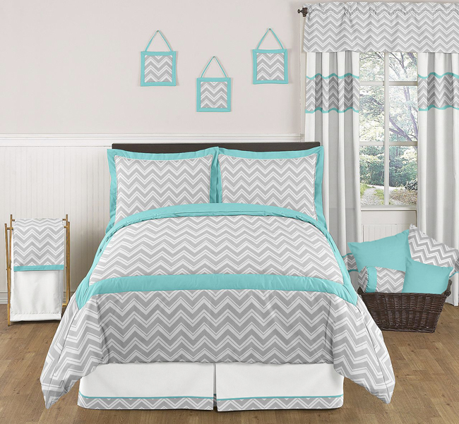 Zig zag turquoise and gray chevron full queen bedding for Zig zag bedroom ideas