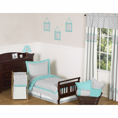 Zig Zag Turquoise and Gray Chevron Toddler Bedding Collection