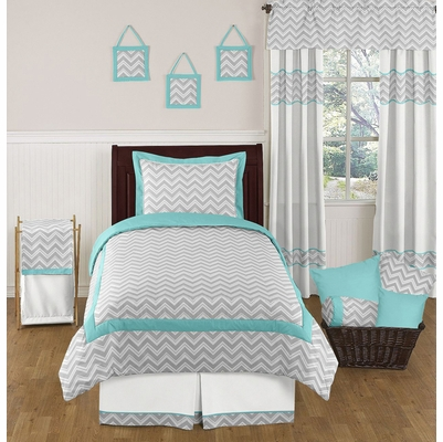 Zig zag turquoise and gray chevron twin bedding collection for Zig zag bedroom ideas