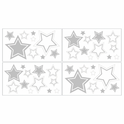 Hotel White and Gray Wall Decals - Set of 4 Sheets
