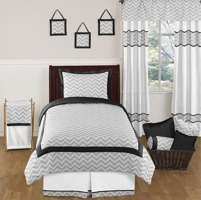 Zig Zag Black and Gray Chevron Twin Bedding Collection