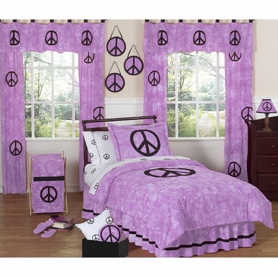 Peace Purple Twin Bedding Collection