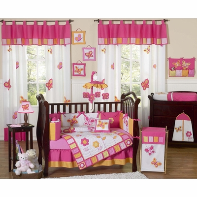 Butterfly Pink and Orange 9pc Crib Bedding Collection