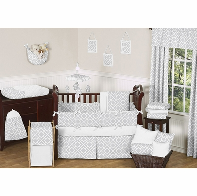 Diamond Gray and White Crib Bedding Collection