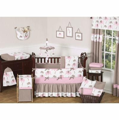 Elephant Pink Crib Bedding Collection