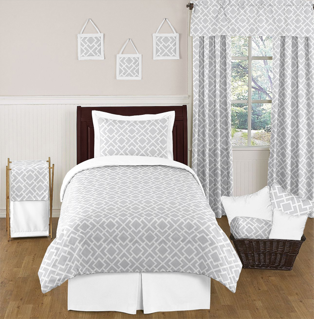 diamond gray and white twin bedding collection. Black Bedroom Furniture Sets. Home Design Ideas