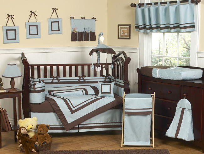 Hotel Blue And Brown Crib Bedding Collection