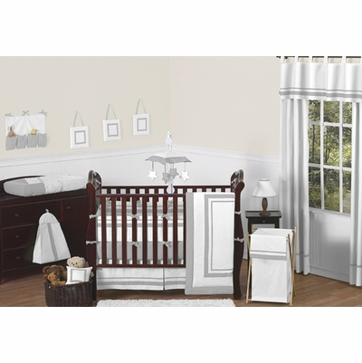 Hotel White and Gray Crib Bedding Collection