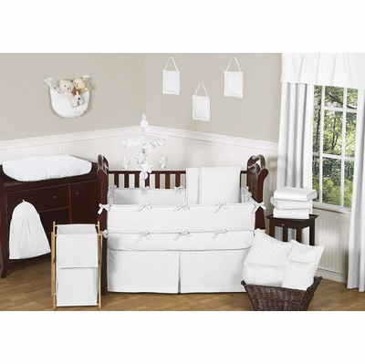Minky Dot White Crib Bedding Collection